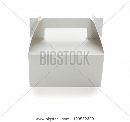 Takeaway Paper Cake Box on White Background