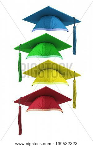 Colourful Graduation Mortar Boards on White Background