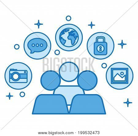 people community conection communication network media vector illustration