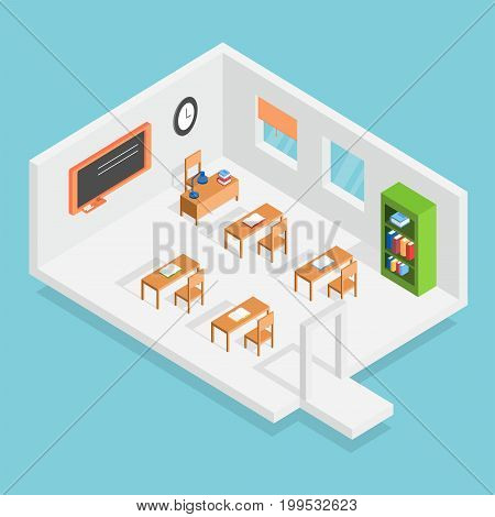 Isometric Classroom Conceptual Design | Isomatric Design with hight quality vector | Use for business, marketing, concept and much more. The set can be used for several purposes like: websites, print templates, presentation templates, and promotional mate