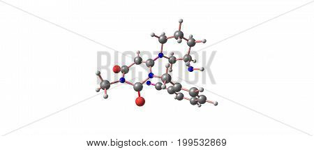 Alogliptin is an orally administered anti-diabetic drug in the DPP-4 inhibitor class that decreases blood sugar. 3d illustration