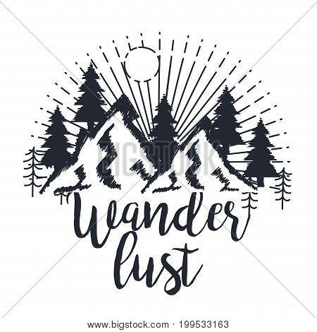wanderlust hand drawn mountain adventure label nature vector illustration