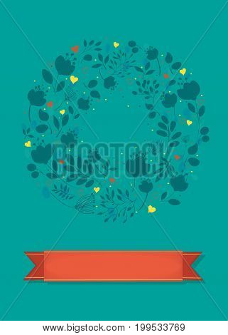 Graceful Floral Greeting Card. Ring of blue shapes of flowers and yellow and red hearts. Red banner for custom text. Green background