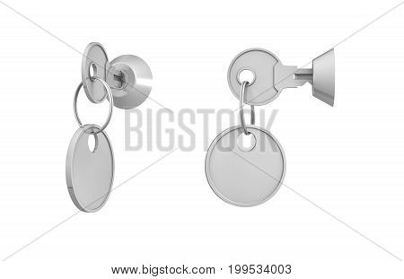 3d rendering of keys with attached blank labels inside their locks on white background. Lock and key. Security management. Information safety.