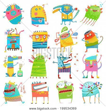 Funny iimaginary monsters design elements clip art on white. EPS10 vector has no background color.