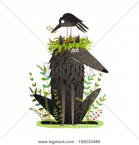 Adorable friends in the forest cartoon. Vector illustration.
