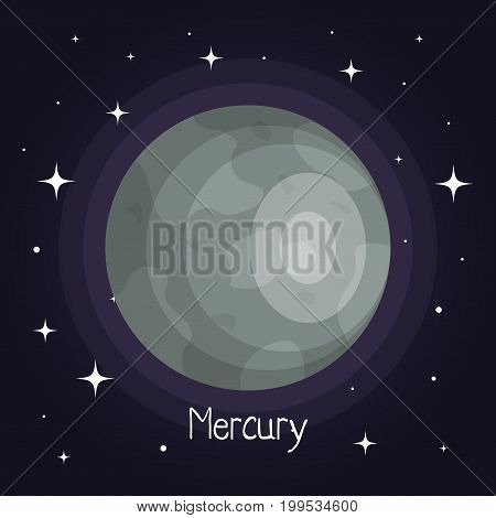 mercury planet in space with stars shiny cartoon style vector illustration