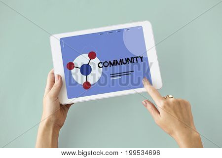Digital Tablet connected with social network online community
