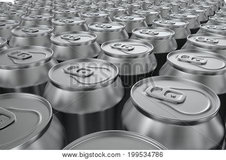Closeup aluminium soda cans on white background. 3d illustration