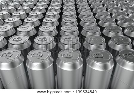 Closeup aluminium soda cans on white background. 3d illustration