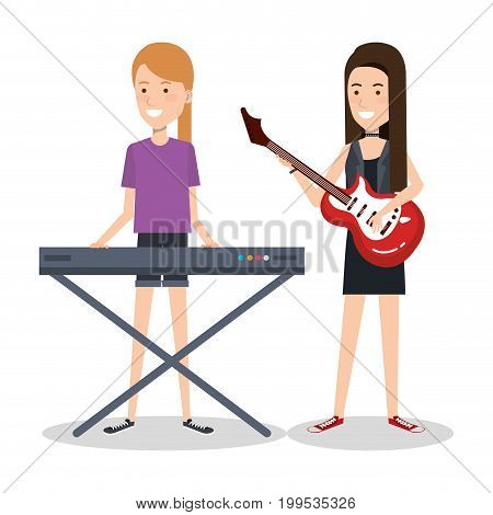 girls playing musical instruments together vector illustration
