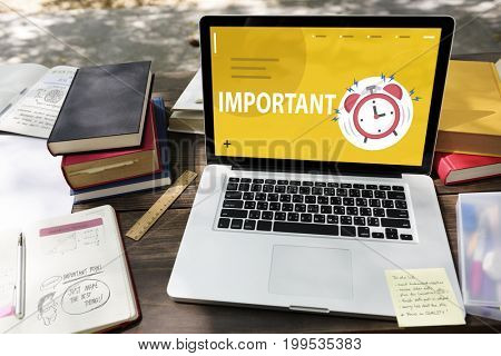 Illustration of alarm clock notification for important appointment on laptop