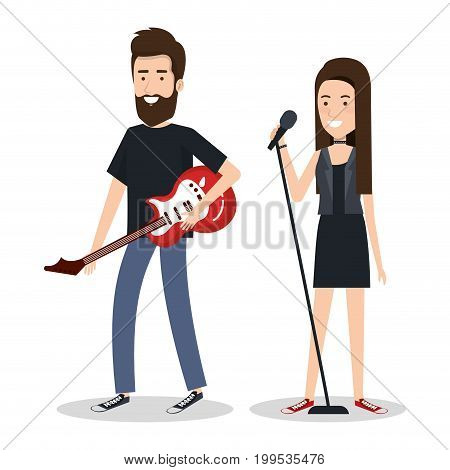 young woman singer and man guitar player vector illustration