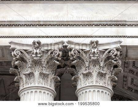 18th century St Paul Cathedral column heads. London United Kingdom. It is an Anglican monumental cathedral the seat of the Bishop of London