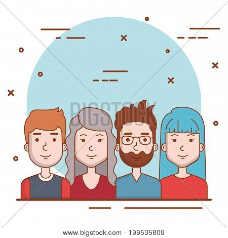 set of people human men and women faces portraits vector illustration
