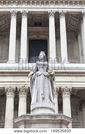 Statue of Queen Anne in front of the St Paul Cathedral London United Kingdom. It is an Anglican monumental cathedral the seat of the Bishop of London