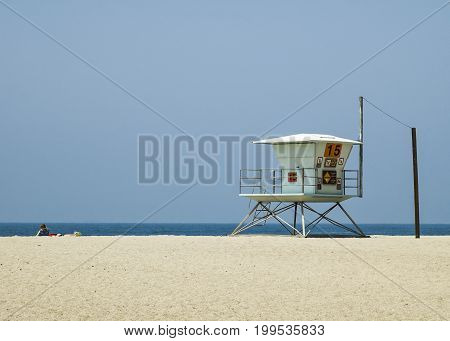 A lifeguard station at a California Beach