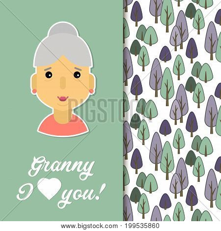 Happy day grandparents. Card for your greetings. Stock vector. Dear sweet grandmother .