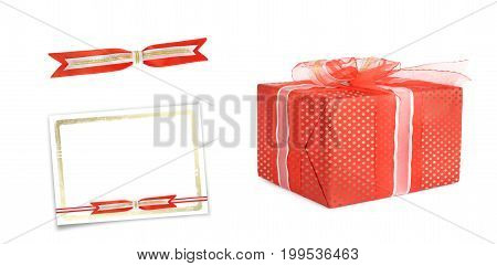 Holiday Gift Boxes Decorated With Bows And Ribbons Isolated