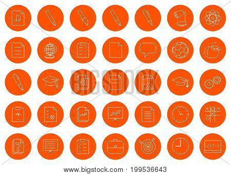 For a school site or booklet a set of thirty-five vector line round monochrome icon icons color change in one click