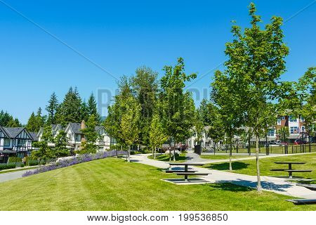 Recreation and walking area on the block of new townhouses