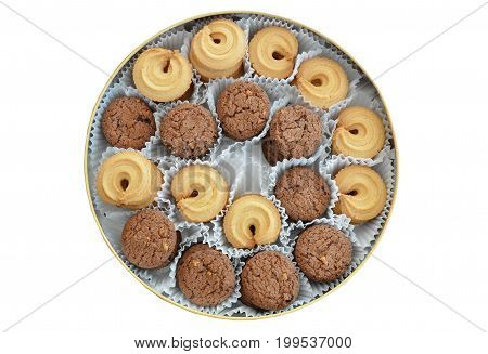 vanilla and chocolate cookies in circle tin box on white background