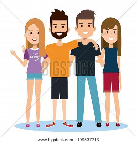 group of happy people friends together in casual clothes on a white background vector illustration