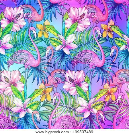 seamless tropical pattern with rainbow and flamingo, Glowing graphic background, allover tropical design, flamingo pattern.