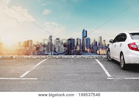 Car parking lots, sightseeing urban cityscape view in morning sunrise