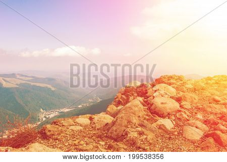 Panoramic Toned View Over The Carpatian Mountains And Sinaia Town, Sunrise At The Background, Bucegi