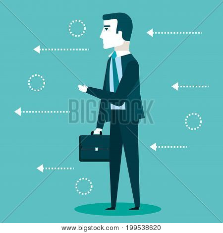 business man with suit holding briefcase vector illustration