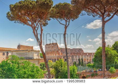 Rome, Italy - May 08, 2017 : Beautiful Landscape Of The Colosseum In Rome- One Of Wonders Of The Wor