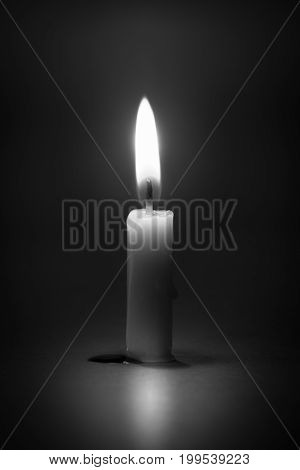 still life candle light with abstract black and white concept.