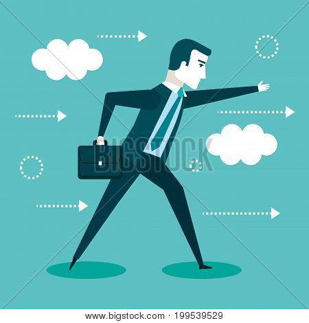 businessman walking with his briefcase vector illustration