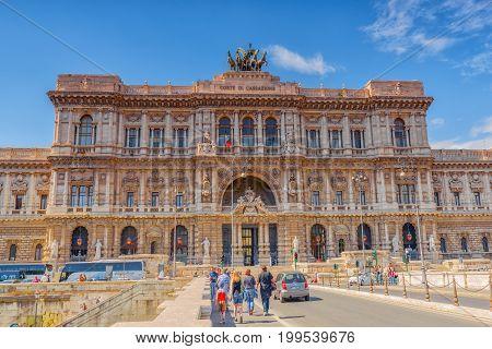 Rome, Italy - May 08, 2017 : Palace Of Justice (corte Suprema Di Cassazione) Near Tiber River And Br