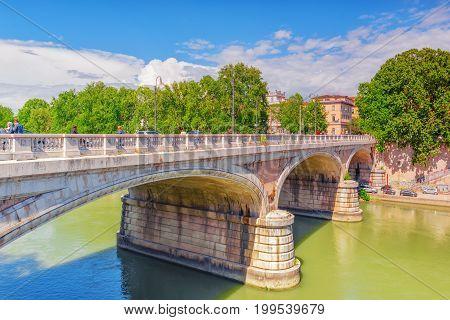 Rome, Italy - May 08, 2017 :people On Regina Margherita Bridge (ponte Regina Margherita) In Centre O