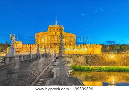 The Tiber River, Ponte Sant'angelo Bridge, Sant'angelo Castle. Rome, Italy.