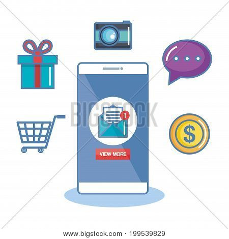 notification of an incoming email letter marketing commerce to phone mobile vector illustration