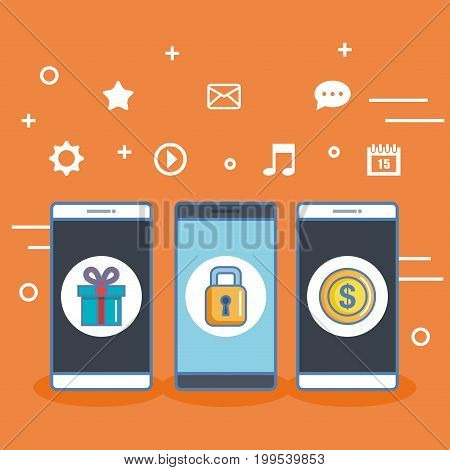 three smartphone with shopping application conncetion vector illustration