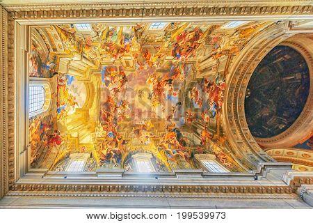 Rome, Italy - May 09, 2017 : Inside The Church Of St. Ignatius Of Loyola At Campus Martius (italian: