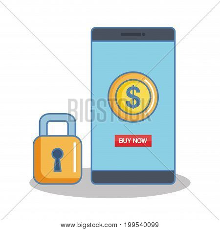 secure shopping cellphone money banking internet icon vector illustration