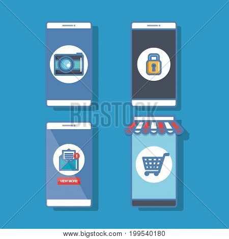 many smartphone with application conncetion vector illustration