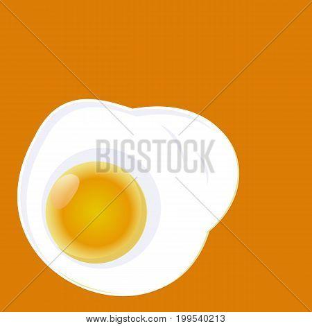Fried egg isolated on yellow background. Fried egg flat icon.