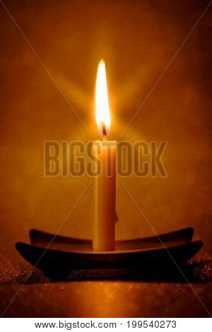 Abstract Background For Pray Or Meditation Caption. Still Life Golden Candle Light With Reflection O
