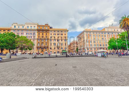 Rome, Italy- May 09, 2017:  Beautiful Landscape  Urban And Historical View Of The Rome, Street, Peop