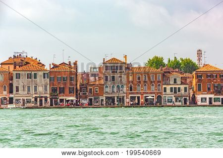 Venice, Italy - May 12, 2017 : A View Of The Island Of Giudecca, Located Opposite Mail Island Venice