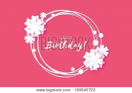 Cute Happy Birthday Paper cut Greeting card. Origami Floral background. Square frame for text. Vector illustration.