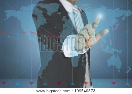 Business man pointing at growth graph and business concept on dark blue background with map. investment finance business sucess future technology and money concept