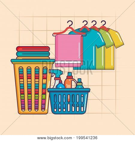 laundry hanger clothes and basket detergents vector illustration