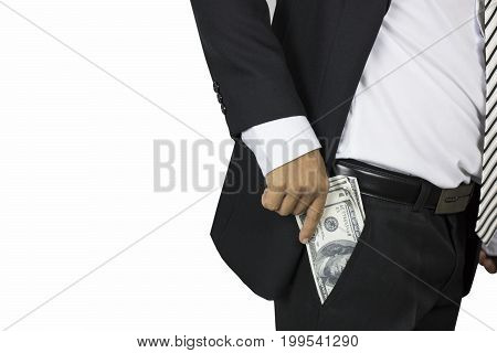 businessman show and get money concept in earning corruption and investment